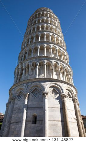 Leaning Tower of Pisa - in Tuscany Italy. Photographed in soft side lighting and from a dramatic angle. Concepts could include architecture travel European culture others.