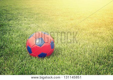 Vintage Stylized Ball On A Grass, Copy Space