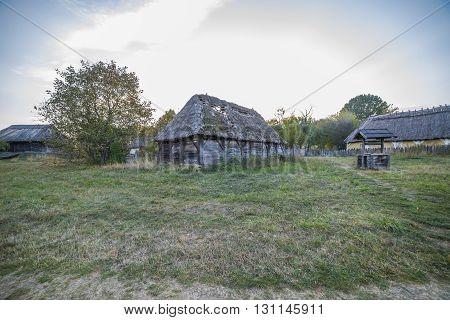 Very old ethnic Ukrainian village in autumn