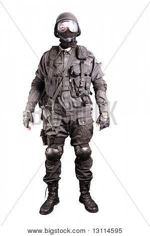 Uniform conforms to special services(soldiers) of the NATO countries. Shot in studio. Isolated with clipping path.