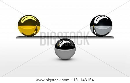 Find and achieve the perfect balance concept 3d illustration with balancing between gold and silver balls.