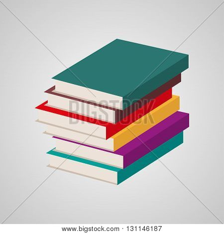 Stack of multi colored books. Vector illustration