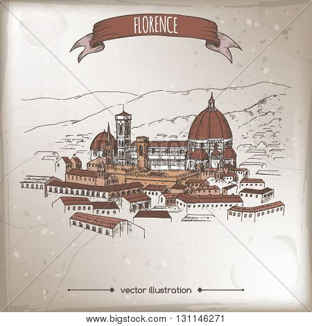Vintage travel illustration with Florence Cathedral of Saint Mary of the Flower and city landscape. Hand drawn vector sketch. Great for travel ads, brochures, labels.