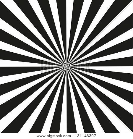 Sunburst Retro black and white in vintage style. Vector illustration