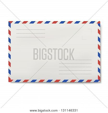 Air mail white envelope isolated on white background