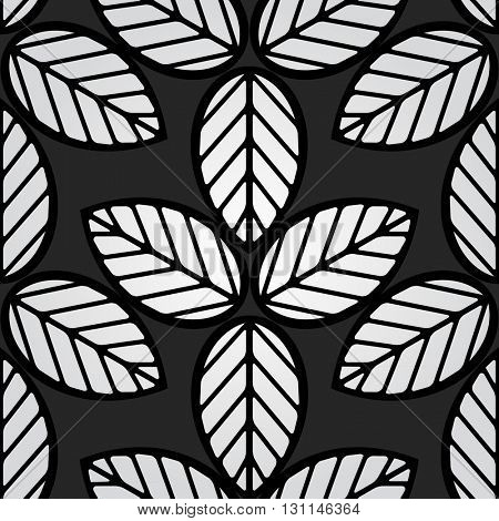 Seamless black and white simple leaves vector pattern.