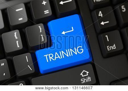 Training Concept: Modern Laptop Keyboard with Training on Blue Enter Keypad Background, Selected Focus. Black Keyboard Key Labeled Training. 3D Render.