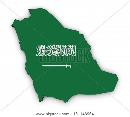 Map of Saudi Arabia with Saudi Arabian flag on shape 3D illustration on white background.