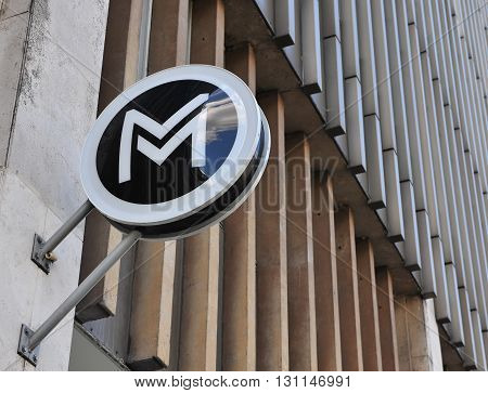 BUDAPEST HUNGARY - MAY 16: Metro sign of Budapest city Hungary on May 16 2016. Budapest is the capital and largest city of Hungary.