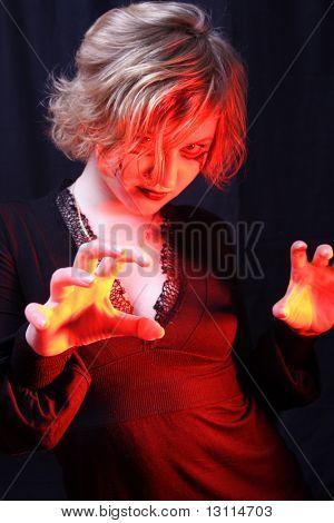 Devilish portrait of inferno girl.