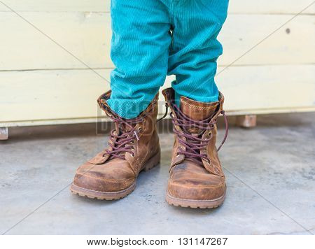 Thai Baby Boy Try To  Wearing Father's Boots
