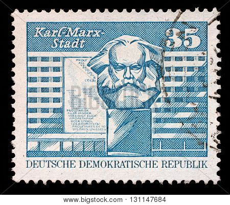ZAGREB, CROATIA - SEPTEMBER 09: A stamp printed in GDR shows image of Chemnitz known from 1953 to 1990 as Karl-Marx-Stadt, Germany, circa 1980, on September 09, 2014, Zagreb, Croatia