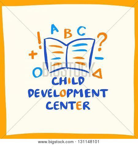 Logo Child Development Center With Book On White Background.