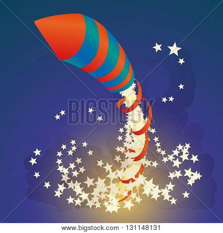 Flying firework rocket with a ribbon and stars in the night sky. Vector illustration