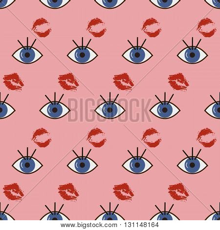 Background vector illustration seamless pattern of abstract eyes and kisses.