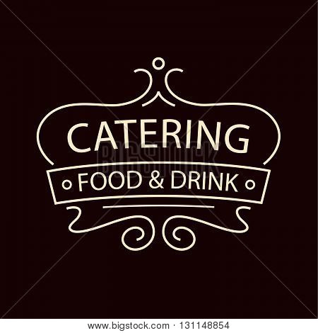 Vector Logo For Catering Restaurant Cafe. Illustration For Premi