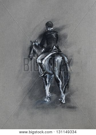 horseman riding a horse - equine sport pastel and charcoal sketch on textured paper