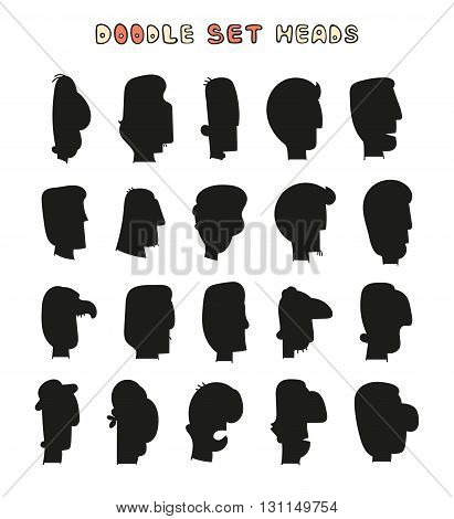 Isolated silhouettes mens heads with a white background.