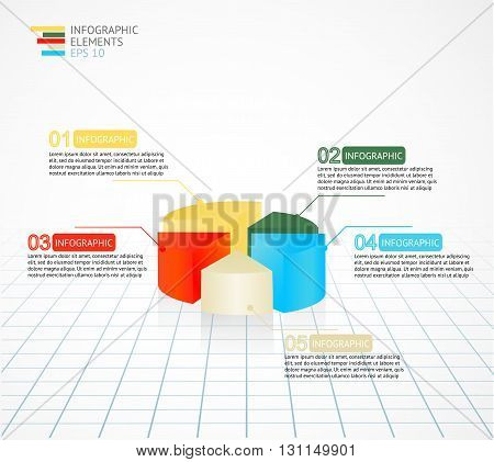 Infographics pie chart diagram template for business reports and presentations. Vector illustration.
