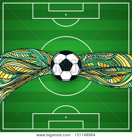 The background of a football field with ball in the center