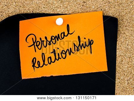 Personal Relationship Written On Orange Paper Note