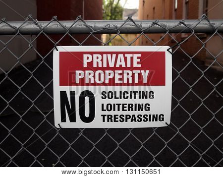 Private Property Sign on a Chain Link Fence