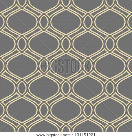 Seamless vector ornament. Modern geometric pattern with repeating golden wavy lines