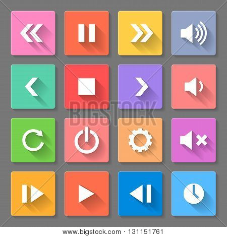 Set of flat media icons with long shadows for web design and apps