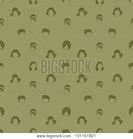 Vector Set: Woman's Hair Style Silhouettes Seamless pattern. Retro Fashion