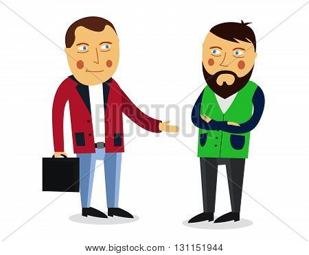 Businessman Greeting Partner Vector Concept. Business Meeting. Colleagues Say Goodbye Or Hello. Hand