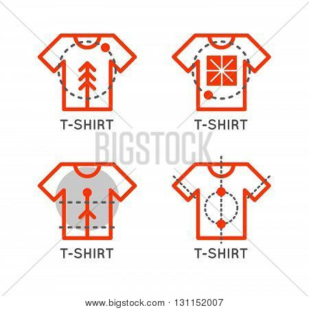 Vector T-shirt Logo Set. Online Shop Logo. Clothing Shop Vector Icon. T-shirt Outline Design. Online