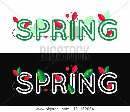Spring decorative vector concept. Spring text. Spring lettering banner. Outline spring text design. Spring banner.