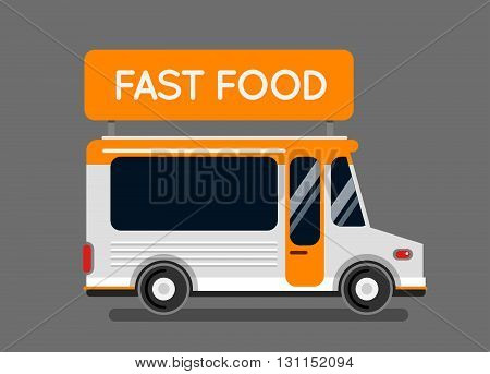 Fast Food Truck City Car. Food Hipster Truck, Auto Cafe, Mobile Kitchen, Hot Fastfood, Vegetables. D