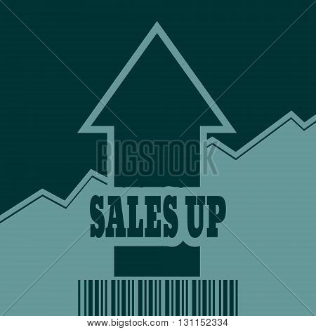 Sales up text and rise up arrow. Growth diagram and bar code. Relative for retail business