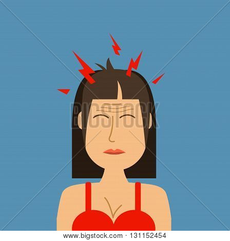 Headache Woman Vector Illustration. Pills Against Headache. Causes Of Headache Infographics..woman W