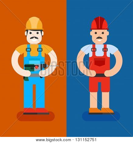 Сonstruction Workers With Repair Tools. Building Specialists Vector Illustration. Cartoon Repairmens