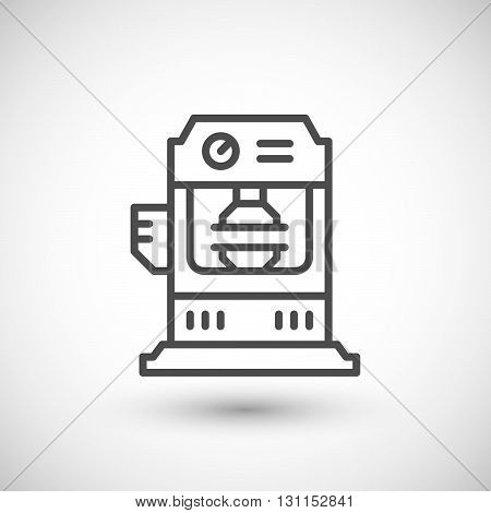 Hydraulic press machine line icon isolated on grey. Vector illustration
