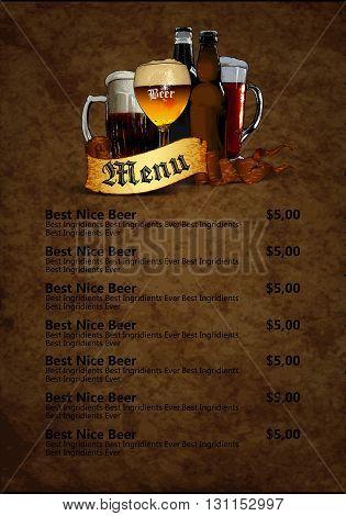 design template menu beer restaurant on a old paper background