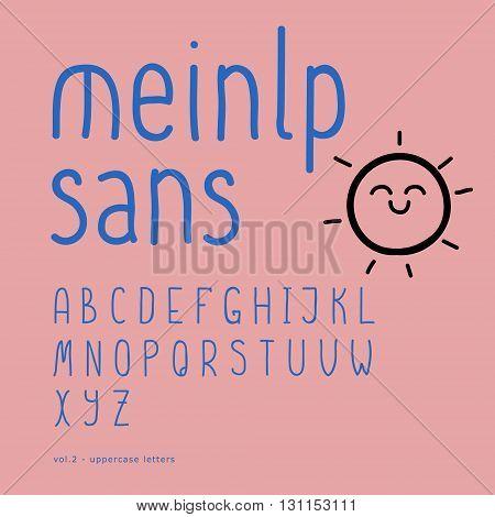 Cute vector hand-drawn font. Hand drawn vector alphabet. Script font. Calligraphy, lettering. Handwritten alphabet. Part 2 - uppercase letters
