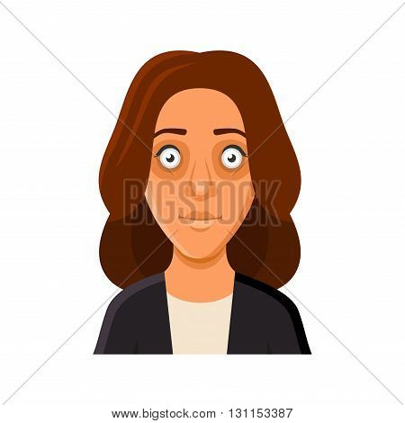 Young Woman Avatar Portrait Userpic on White Background. Vector Illustration
