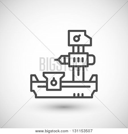 Horizontal boring machine line icon isolated on grey. Vector illustration