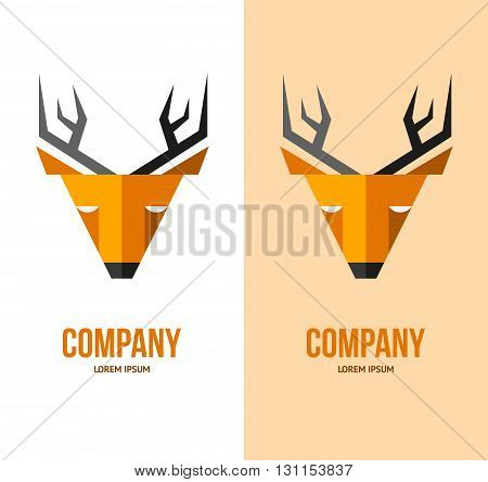Vector Deer Logo. Deer Face. Orange Deer. Wild Deer.