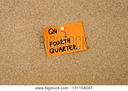 Q4 As Fourth Quarter Written On Orange Paper Note