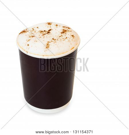 cappuccino coffee in take away paper glass isolated on white background with clipping path