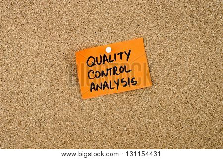Quality Control Analysis Written On Orange Paper Note
