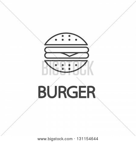 Fastfood sign for cafe or restaurant Burger or cheeseburger sign with text