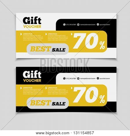 Gift Voucher Template With Amount Of Discount And Contact Information. For Hotel, Restaurant, Shop O