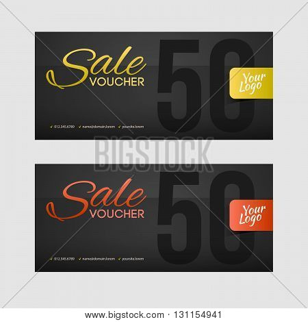Sale Coupon Or Gift Voucher With Gold Inscription.