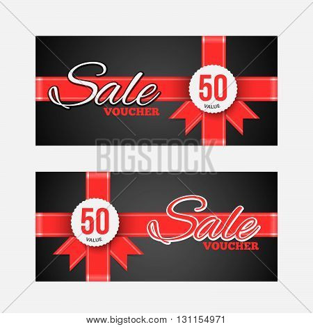 Sale Coupon Or Gift Voucher With Red Ribbon. Gift Wrap Design Voucher.