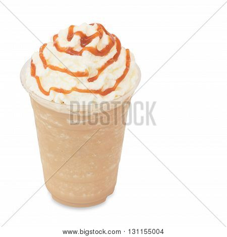 smoothie iced coffee in takeaway glass isolated on white background with clipping path